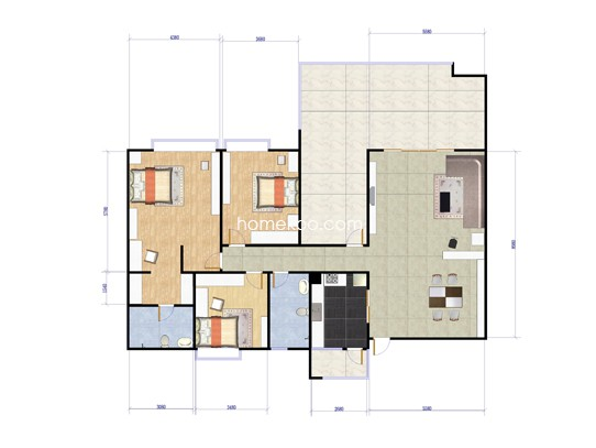 天麓山洋房3室2厅2卫1厨 195.44�O