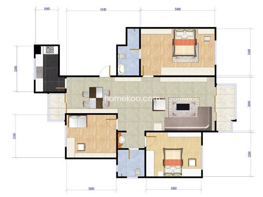 礼域W户型3室2厅2卫1厨 135�O