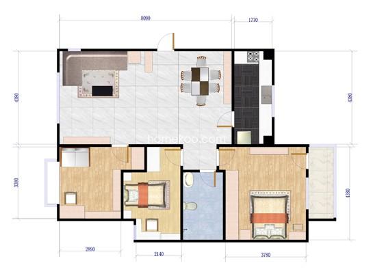 B-B户型图3室1厅1卫1厨 118.00�O