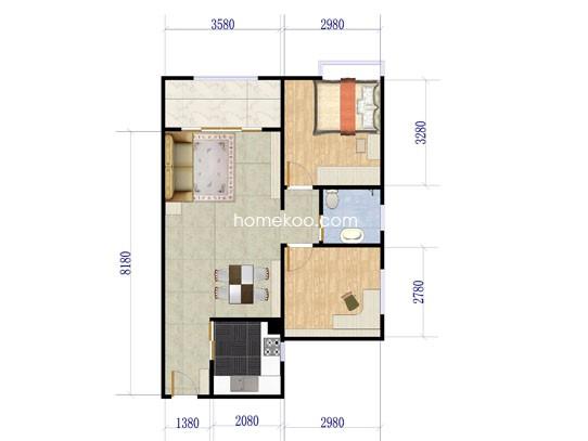 户型图2室2厅1卫1厨