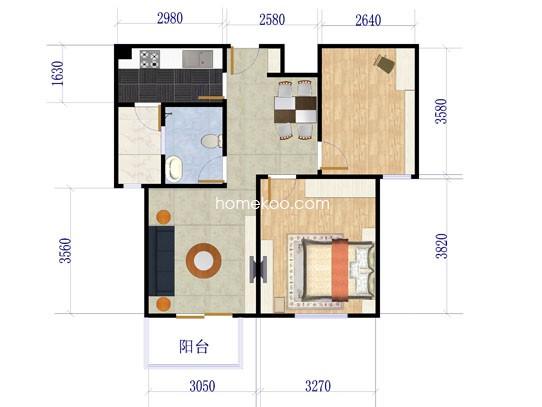 F2户型2室2厅1卫 89�O