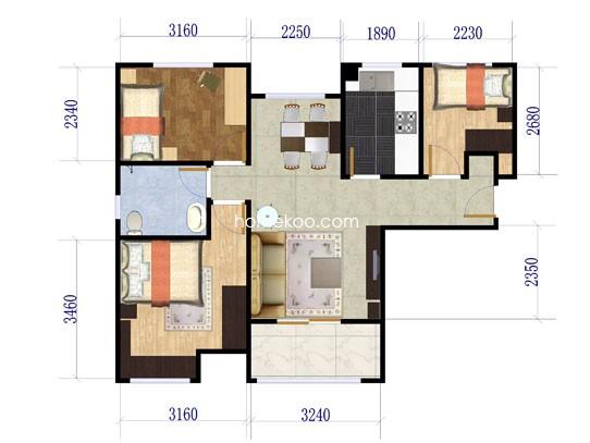 F4户型3室2厅1卫 89�O