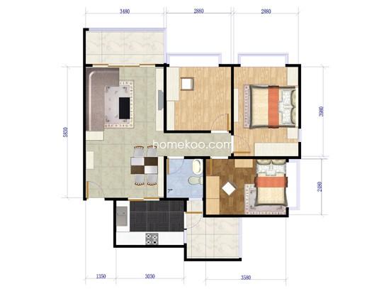 3室2厅2卫1厨 95�O