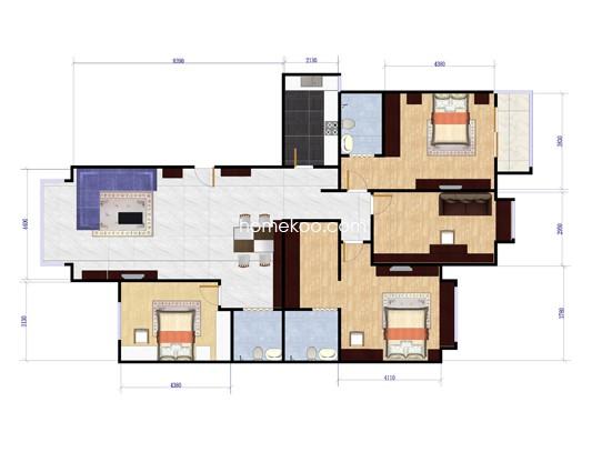 C01户型4室2厅3卫1厨 181.18�O