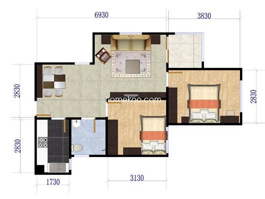 A21户型2室2厅1卫 81�O