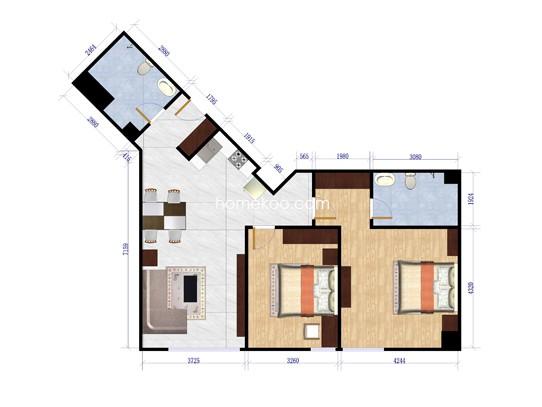 熙旺中心E-H两室两厅两卫120.23-121.72平方米户型