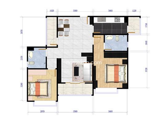 香悦四季C5两室两厅两卫95.32平方米户型