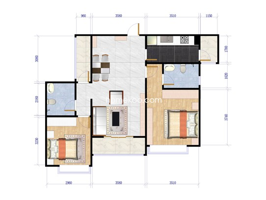 香悦四季三期溪游季C5两室两厅两卫户型