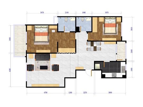 东区珑园B-A两室两厅两卫117-120平方米户型
