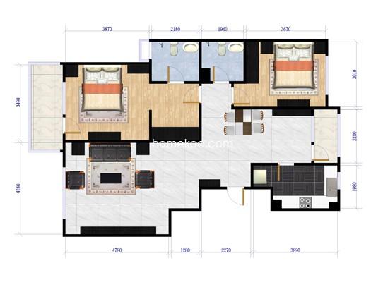东区珑园B-B两室两厅两卫117-120平方米户型