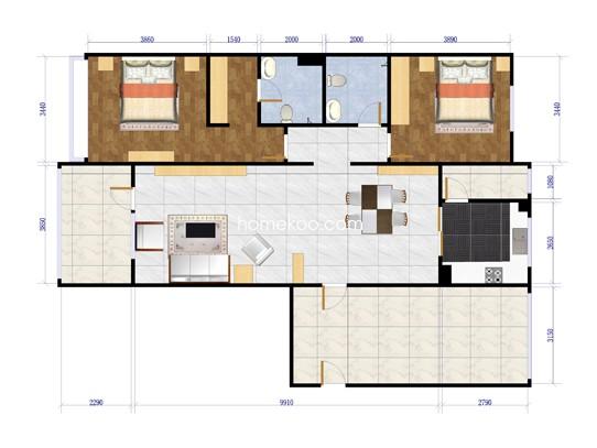 A-1两室两厅两卫约133平方米户型