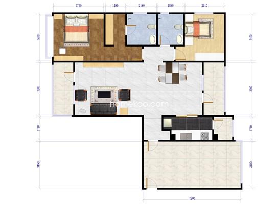 D-1两室两厅两卫约134平方米户型