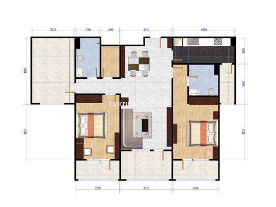 D-2两室两厅两卫约142平方米户型