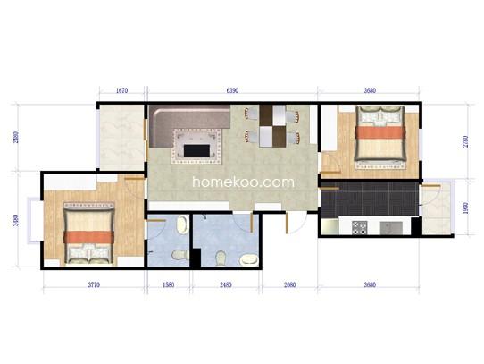 花涧溪二期风荷雅居5号楼A两室两厅一卫88.23�O户型