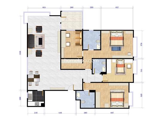 8哩岛碧林宽邸F三室两厅三卫两厨180平方米户型