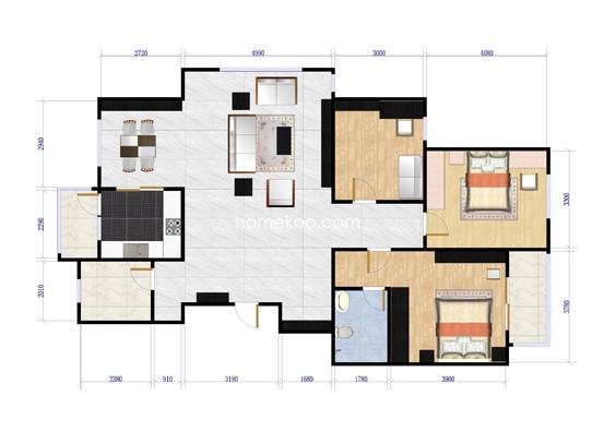 东方美墅小高层F三室两厅两卫户型