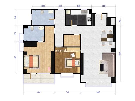 北潞尚界H6反两室两厅两卫123.93平方米户型