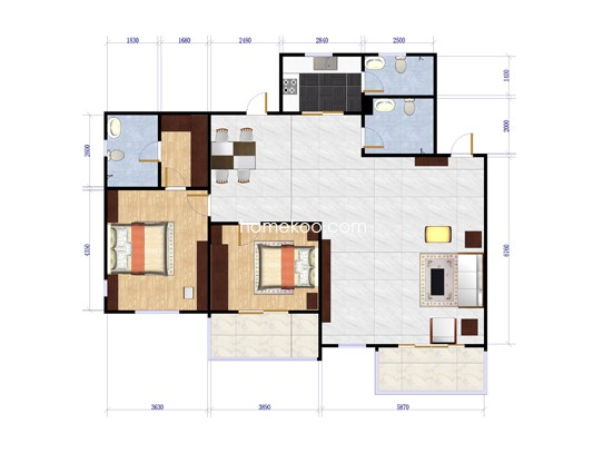 B27+B43-6顶层两室两厅两卫147.14平方米户型