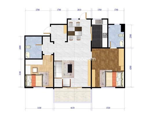 B47-6首层两室两厅两卫102.15平方米户型