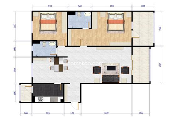 B34-2二层两室两厅两卫129.17平方米户型