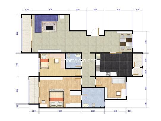 B户型三室两厅两卫  197.12平米