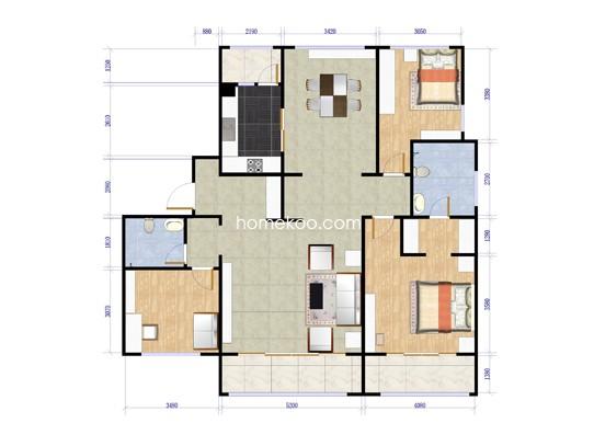 F户型三室两厅两卫  182.35平米