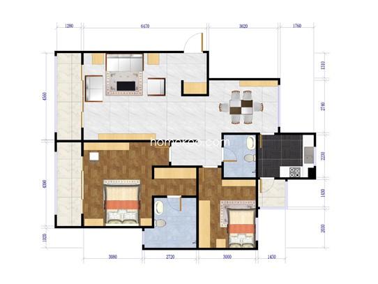 H户型两室两厅两卫  150.04平米