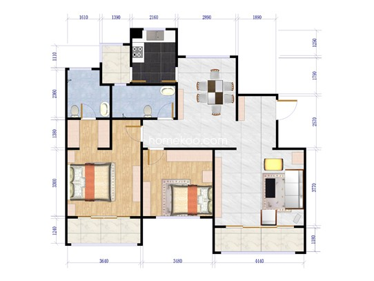 J户型两室两厅两卫  141.16平米