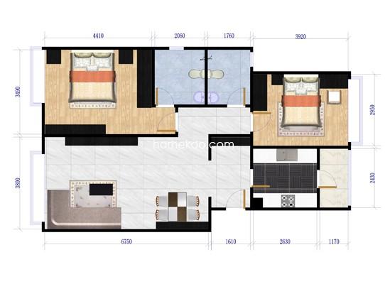 翰庭两室两厅两卫90-93平方米户型图