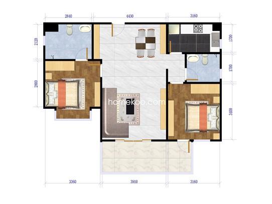 2室2厅2卫1厨97.57�O