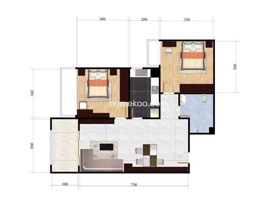 B1户型2室2厅1卫1厨85.00�O