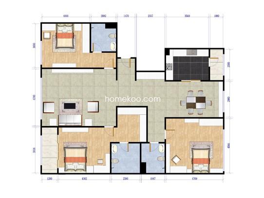 F户型3室2厅3卫1厨199.00�O