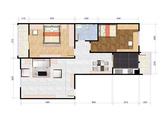 D户型图2室2厅1卫1厨99.71�O