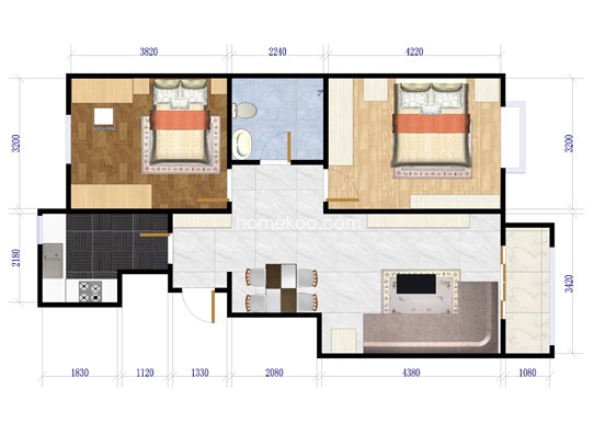 两居室2室1厅1卫1厨