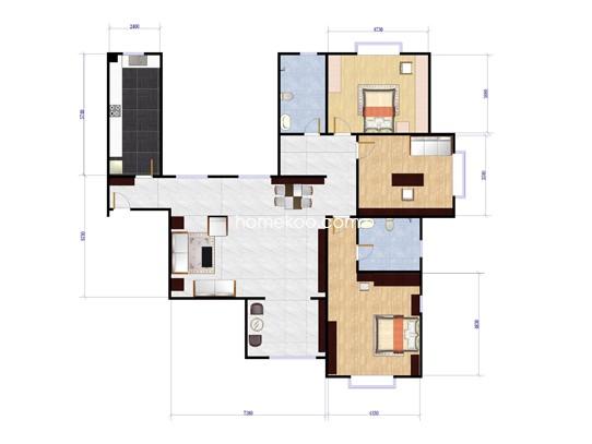 C4-1户型图3室2厅2卫1厨