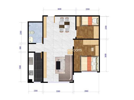 C8-1-02户型2室2厅1卫1厨 73.19�O