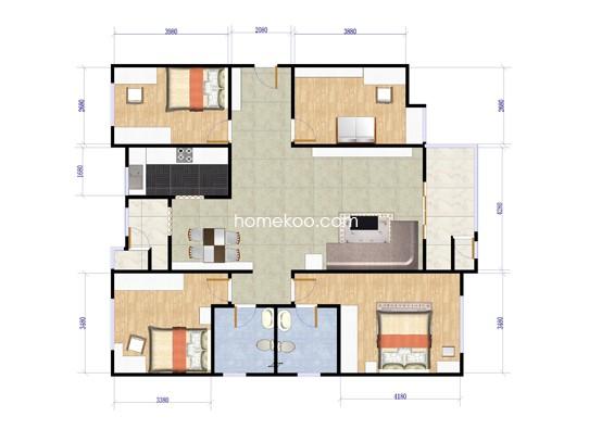 D4户型图4室2厅2卫1厨 120.00�O