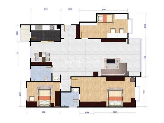 B5号楼G户型3室2厅2卫1厨 151�O