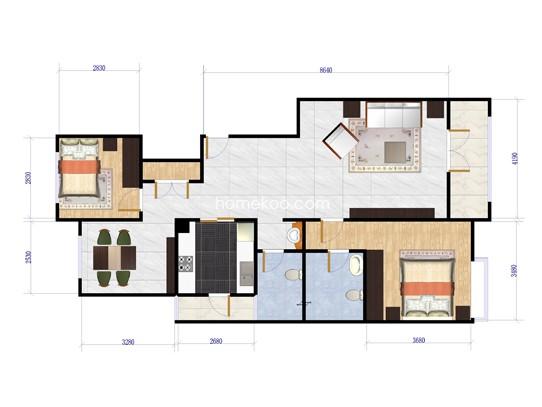 h3户型图4室2厅3卫1厨 163�O