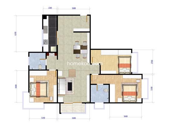 12#G2户型3室2厅2卫1厨 129�O