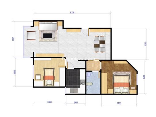 D01户型2室2厅1卫1厨 85.81�O