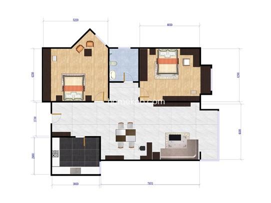 D02户型2室1厅1卫1厨 89.45�O