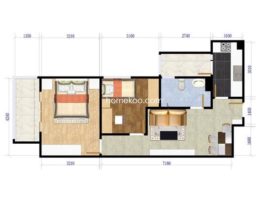 G2户型 2室1厅1卫1厨68�O