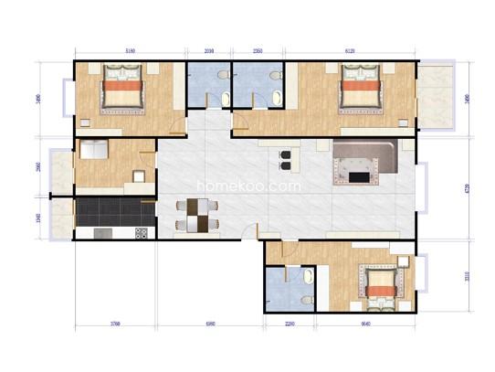 雍�Z台D1两室两厅两卫户型