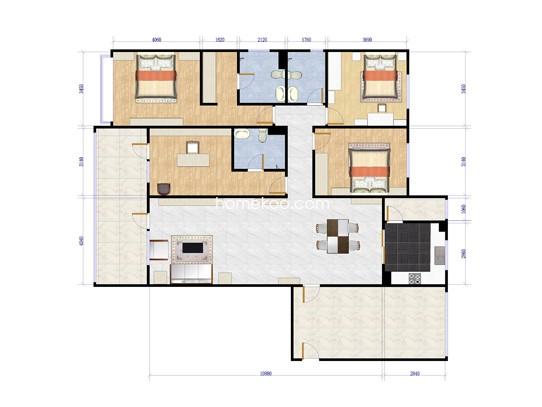 B-1四室两厅三卫约186平方米户型