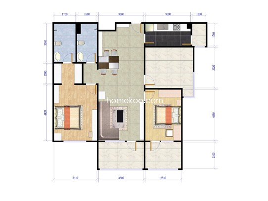 B-2两室两厅两卫约110平方米户型