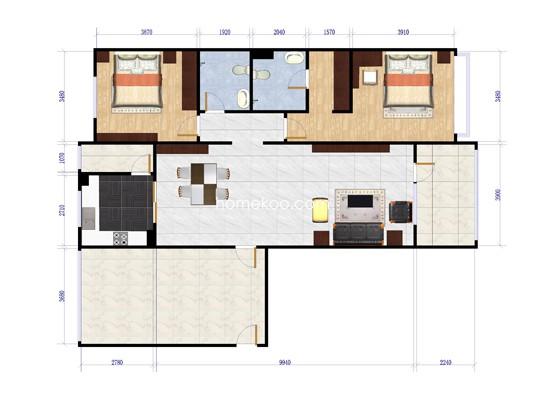 B-3两室两厅两卫约134平方米户型