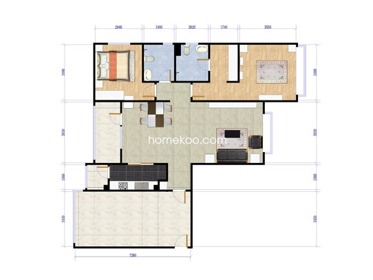 C-2两室两厅两卫约125平方米户型