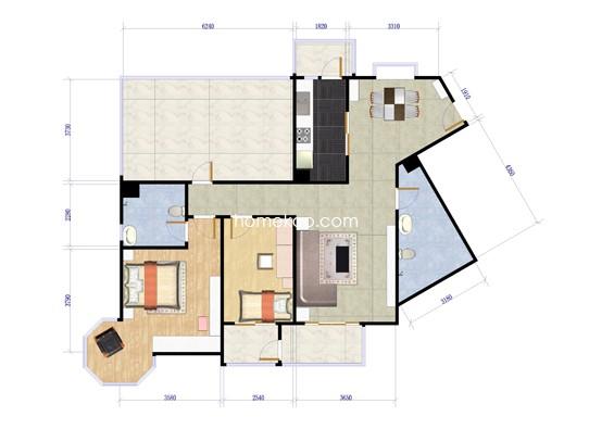潮白人家9、11号楼J1两室两厅两卫121.56平方米户型