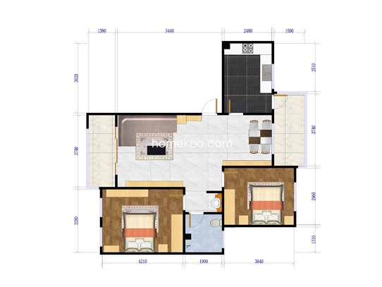 C-1户型 3室2厅2卫